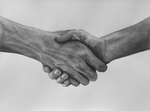 Handshake - charcoal on paper