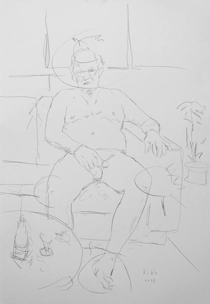 Selbst, auf Couch sitzend, sich den Penis haltend