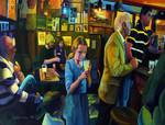Gealic Girl in The Bar, Drinking Lemonade