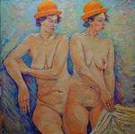 Woman with orange hat