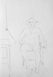 Selbst, unbekleidet im Atelier, sitzend