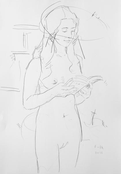 Zoé, in einem Buch blätternd