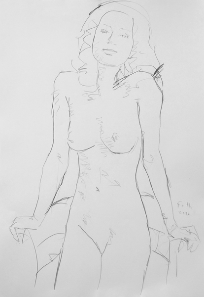 Unbekleidete Frau, sich auf Sessellehnen stützend