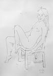 Unbekleidetes Mädchen, auf einem Stuhl hockend III