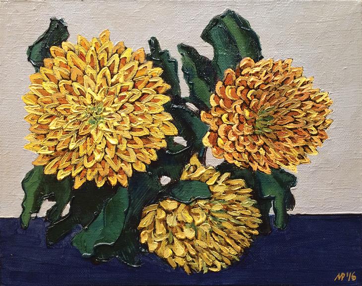 Yellow ?hrysanthemums.