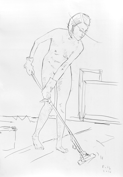Malschülerin, den Boden des Ateliers reinigend