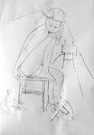 Mädchen, zusammengekrümmt auf Stuhl hockend