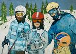 Junge Familie in Schneelandschaft
