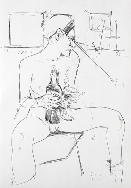 Malerin, trinkend