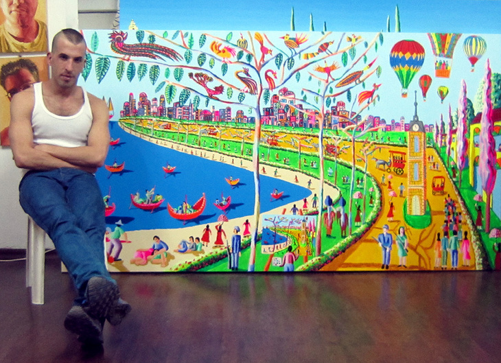 colorful paintings colourful large naive paintings big size art