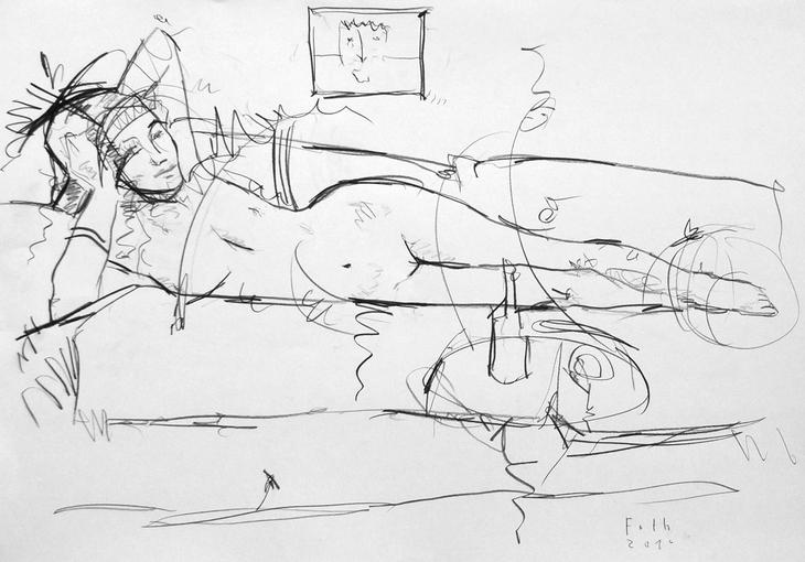Unbekleidete Frau, auf Sofa liegend
