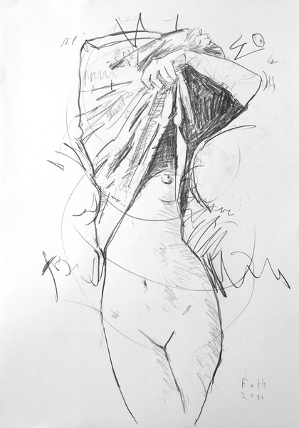 Frau, sich die Kleidung vom Körper ziehend
