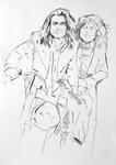Mickey Finn und Marc Bolan auf Moped, posierend