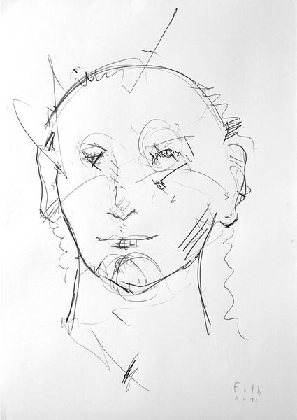 Ohne Perücke, weiblicher Kopf
