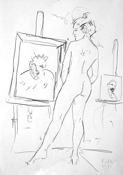 Malschülerin, in Betrachtung eines Porträts versunken