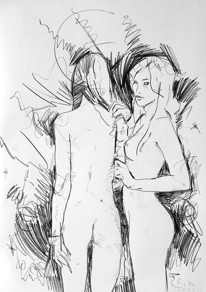 Zwei Frauen, unbekleidet