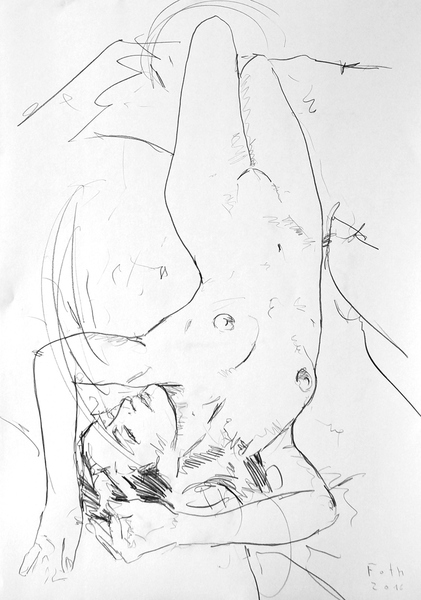 Große Nudistin, liegend