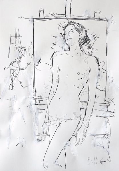 Malerin mit kleinem Gespenst II