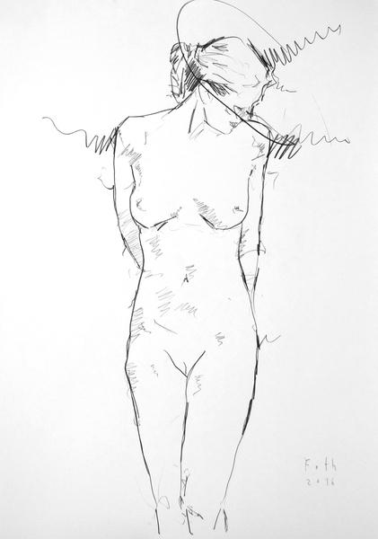 Stehende Frau, unverhüllt