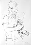 Der Künstler als Kind mit Katze