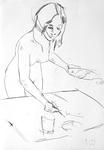 Mädchen, aquarellierend