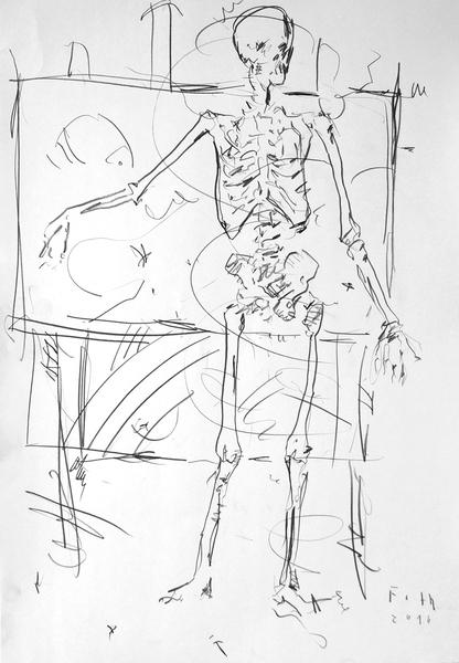 Skelett, ein Gemälde erläuternd