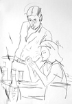 Mann, stumpfsinnig, junge Frau, Karten deutend