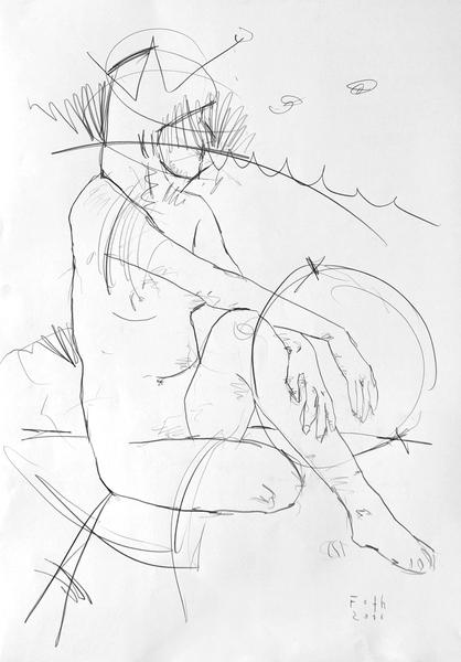 Sitzende Nackte, Hände über das gebogene Knie zusammenschlagend
