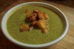 Kale and Cauliflower Soup / Polenta Croutons