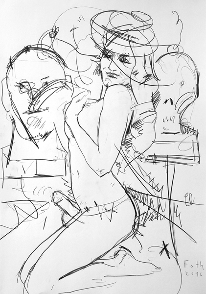 Malerin mit Umschnalldildo vor zwei Porträtbüsten