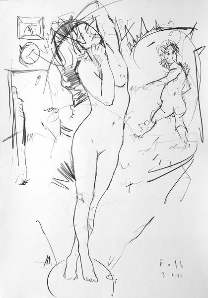 Nackte, Kunde und Gnom im Atelier