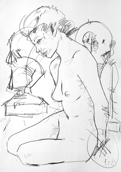 Malerin, vor zwei Büsten hockend