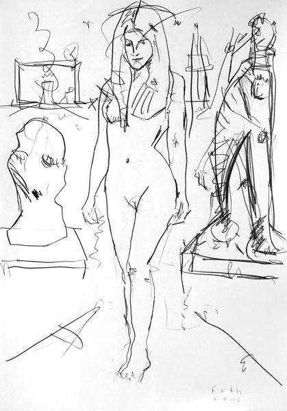 Schülerin in Bildhaueratelier