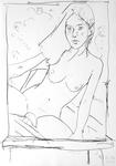 Junger Hermaphrodit als Zeichnung auf Staffelei