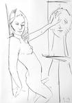 Junger Hermaphrodit, ein Porträt berührend