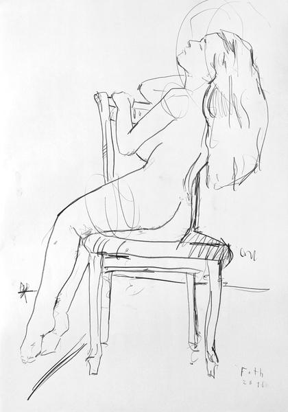 Nackte, auf einem Stuhl hockend VIII