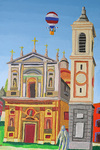 Nice france city after terror attack naive painting art  artist