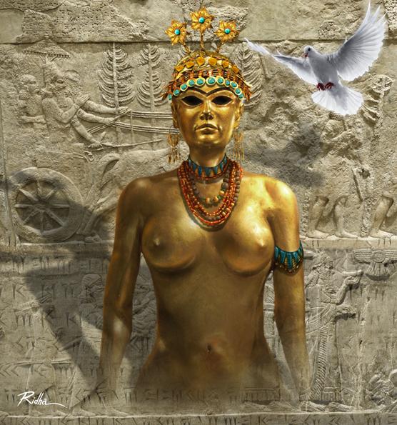 Inanna the goddess of love, beauty, and warfare