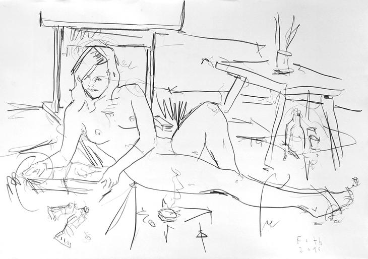 Malschülerin, auf dem Boden des Ateliers liegend und einen Bildb