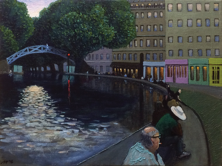 Twilight on the canal Saint-Martin.