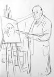 Melancholischer Meister, den Elefantenmenschen malend