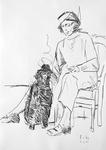 Joan Mitchell mit schwarzem Großpudel