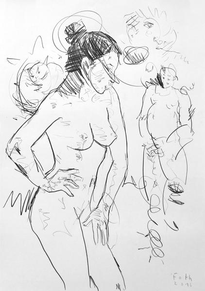 Frau mit Spanner und Katze