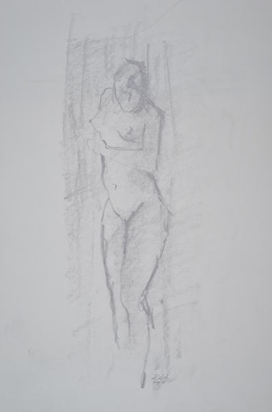 woman with head bent forward