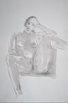 sitting woman leg on armrest