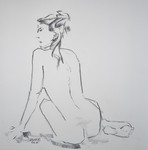 sitting girl with dreadlocks from behind