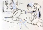 Pluto, sich an einem Porträt von Gerhart Hauptmann erfreuend