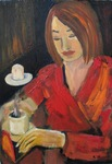 Woman in cofee bar