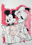 Micky und Donald, in einem Tony-Cragg-Katalog blätternd