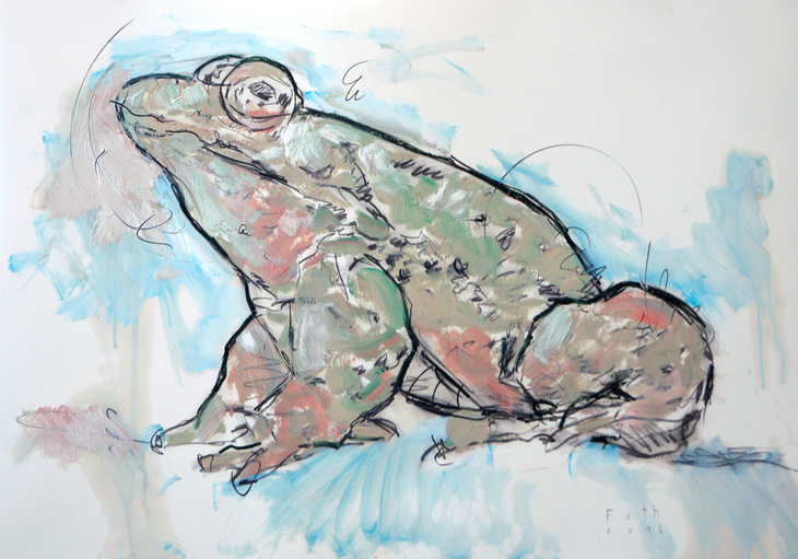 Im Alter melancholisch gewordener Frosch
